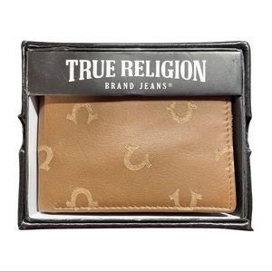 True Religion Men's Leather Trifold Wallet Kiln